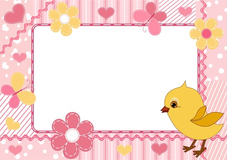 Children`s photo framework. Chicken.  Vector