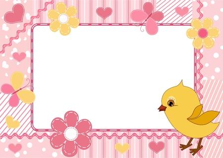 Children`s photo framework. Chicken.  Vector