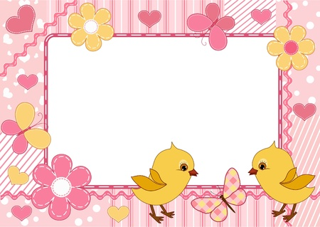 Children`s photo framework. Chickens.  Vector