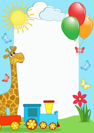 butterfly border: Children`s photo framework. Giraffe.  Illustration