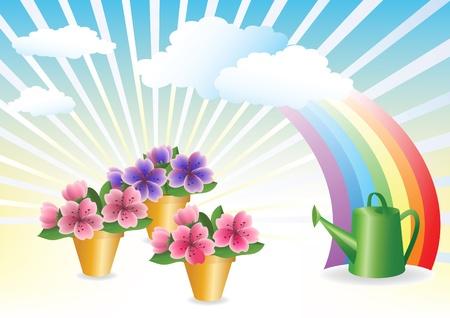 Floriculture. Flower growing. Stock Vector - 12485687