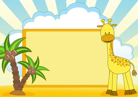 cartoon board: Giraffe. Baby background with place for your text