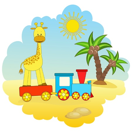 Baby giraffe and train.  Vector