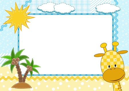 Children`s photo framework. Giraffe.  Illustration