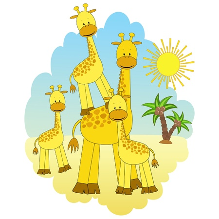 Mother-giraffe and baby-giraffes. Illustration
