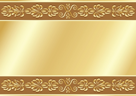 Gold ornamental background with place for your text. Vector