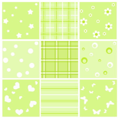 Set green baby seamless. Vector