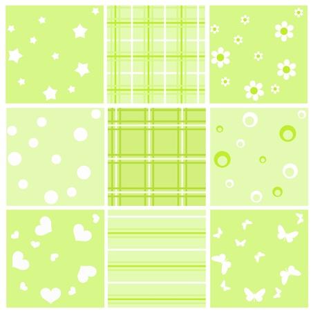 stria: Set green baby seamless. Illustration