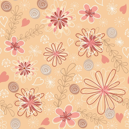 Pink floral seamless.  Vector
