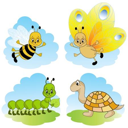 oruga: Animales de dibujos animados.