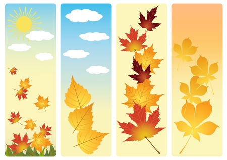 Four autumn banners.  Vector