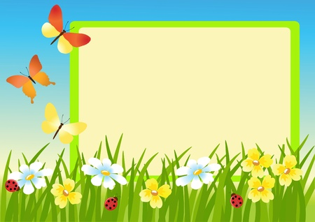 Meadow and message board.  Vector