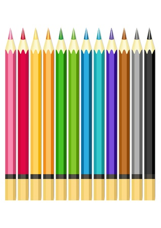 multi coloured: Set of color pencils.  Illustration