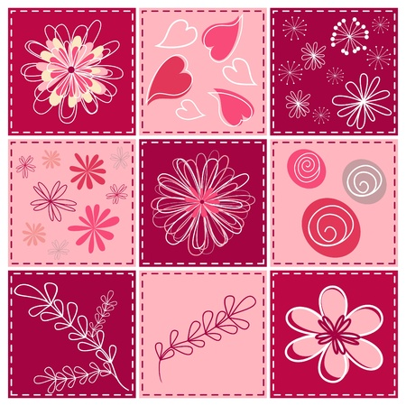 baby scrapbook: Set floral design element.