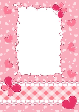 Baby pink frame.  Vector