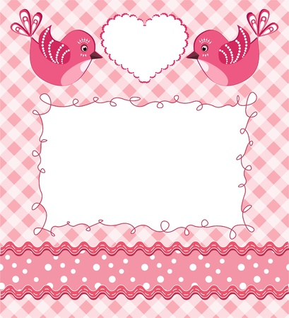 Baby photo frame with birds. Vector