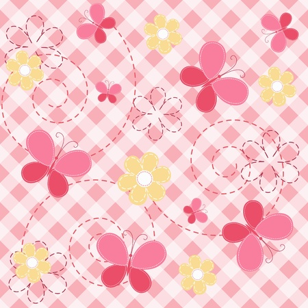 checkered wallpaper: Pink baby seamless with butterfly.