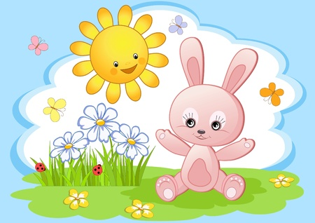 Joy rabbit. Easter card.  Vector