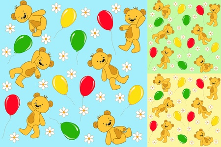 Set seamless. Baby bears. Vector