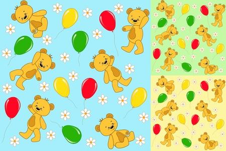 Set seamless. Baby bears. Vector