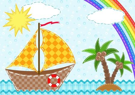 Ship and rainbow.  Vector