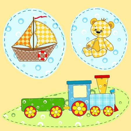 birthday train: Children`s design element.