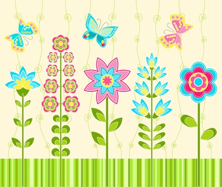 retro styled: Floral ornament. Background.