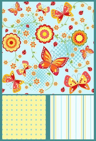 Set floral seamless with butterfly. Blue.  Vector