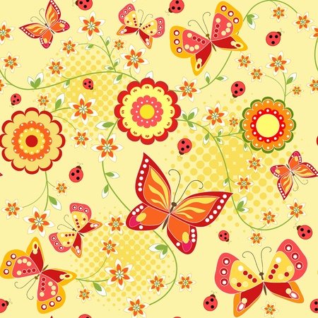 Floral seamless with butterfly. Vector