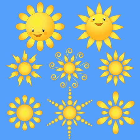 Set cartoon sun. Design element.  Vector