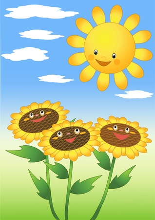 Zon en zonnebloemen. Vector Illustratie
