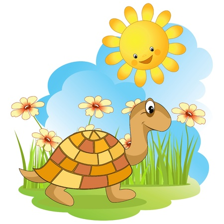 Walking turtle. Vector