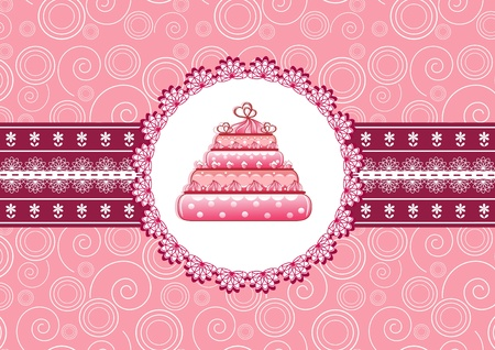 Cake on the doily.  Vector