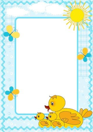 Children`s frame. Duckling.  Vector
