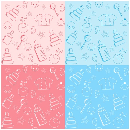 rammelaar: Collectie kindje naadloos. Stock Illustratie