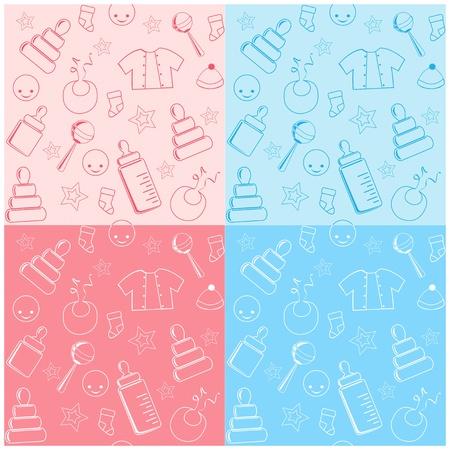 bib: Collection baby seamless.  Illustration