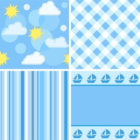 Collection blue seamless.  Vector