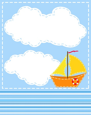 Blue background with ship. Stock Vector - 12485987