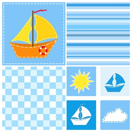 Collection blue seamless. Vector