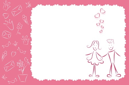 Romantic congratulation postcard. Vector
