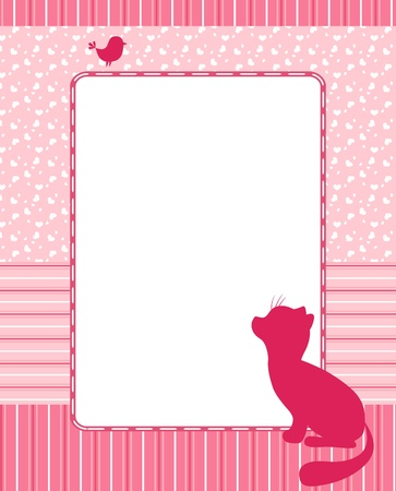 Frame with cat and bird.  Vector