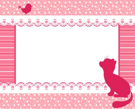 Frame with cat and bird. Stock Vector - 12486366