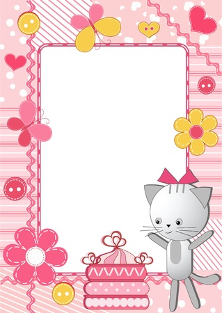Children`s frame. Cat and cake.  Vector