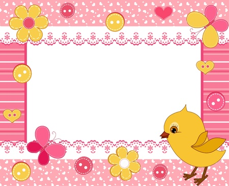Children`s frame. Chick.  Vector
