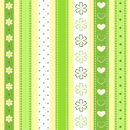 baby scrapbook: Set green ribbon.  Illustration