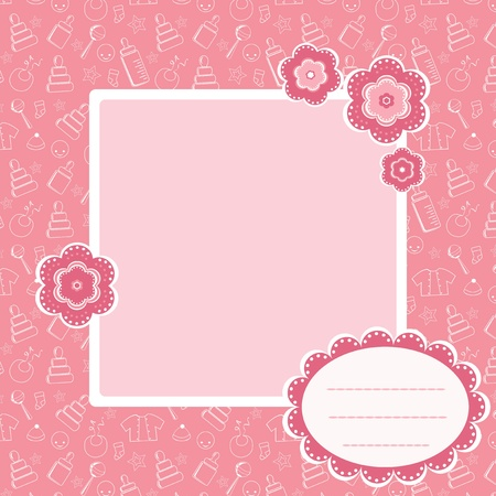 Pink  baby pattern. Vector