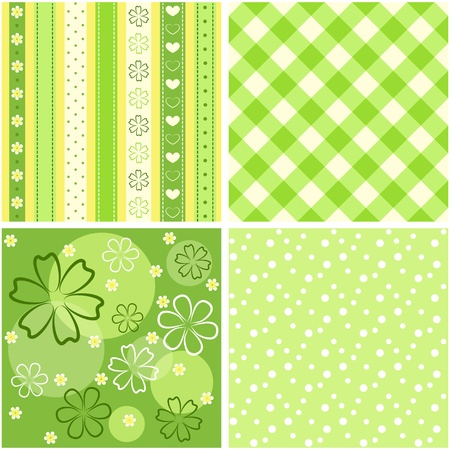 scrapbook: Collection green seamless.  Illustration