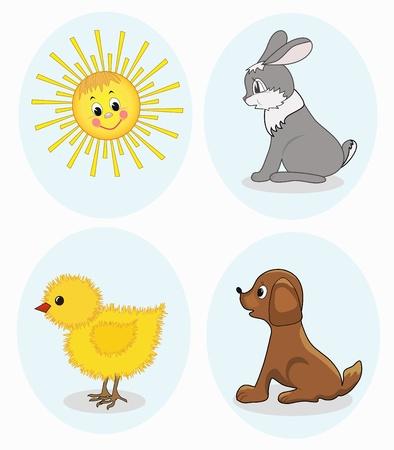 Cartoon animals set,