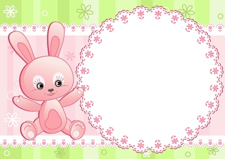 stria: Baby rabbit and white doily