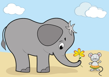 Baby elephant and mouse